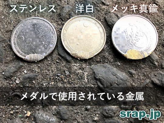 メダルで使用されている金属